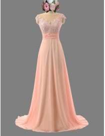 Gorgeous capped lace appliques pink bridesmaid dresses illusion back  SB-052