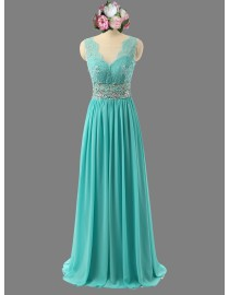 Gorgeous sweetheart deep open lace appliques turquoise blue bridesmaid prom dresses illusion back  SB-056