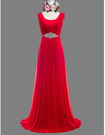 Awesome red pink bridesmaid dresses rhinestones beaded waistline SB-062