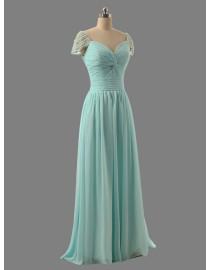 Awesome capped sweetheart mint green bridesmaid dresses pearls beaded SB-081