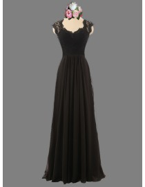 Awesome Anne queen neckline capped sweetheart black lace bridesmaid dresses illusion back SB-082