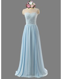 Awesome illusion neckline and back sweetheart beaded baby blue bridesmaid dresses SB-086
