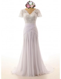 Stunning v-neck pearls sequins beaded mermaid wedding dresses with half sleeves SB-102
