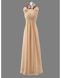 Awesome sweetheart cream beige bridesmaid dresses spaghetti flowers embellishment  SB-119