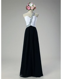 Awesome sweetheart one shoulder black and white bridesmaid dresses swarovski beaded SB-121