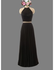Sexy halter black two pieces prom dress SB-125