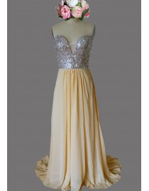 Awesome sweetheart rhinestones beaded khaki chiffon bridesmaid dresses SB-129
