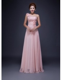 One shoulder pink lace appliques bridesmaid dresses SB-138