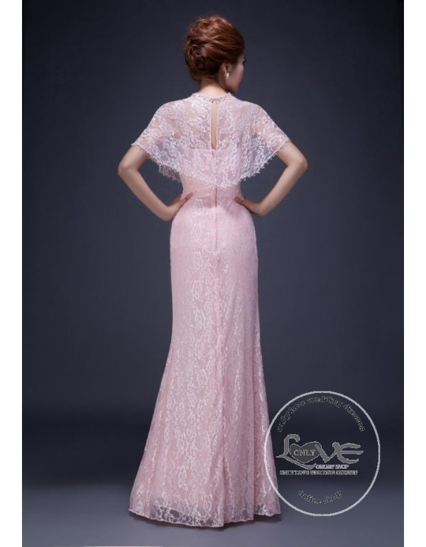 Pink Lace Bridesmaid Dresses With Cape Sb 149