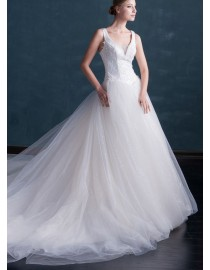Gorgeous v-neck crystals beaded lace appliques illusion back court train basque wedding dresses  MS-604