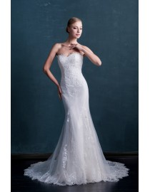 Awesome sweetheart lace appliques sweeping train mermaid wedding dresses  MS-852