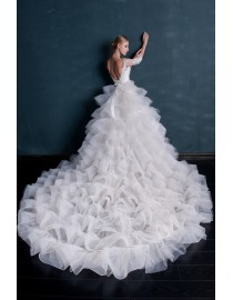 Gorgeous jewel neck 3/4 long sleeves illusion backless removable ruffles court train wedding dresses HB-023