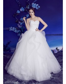 Gorgeous sweetheart lace appliques beaded horse hair skirt sweeping train wedding dresses BL-5171