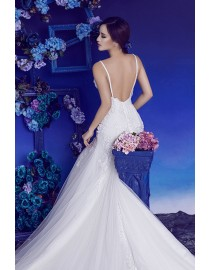Gorgeous spaghetti sweetheart lace appliques beaded backless fit and flare mermaid court train wedding dresses HB-724