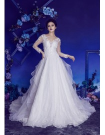 Gorgeous V-neck lace appliques crystals beaded illusion long sleeves detachable ruffles chapel train wedding dresses HB-167