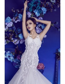 Sexy spaghetti strap sweetheart sheer lace appliques crystals beaded floral embellishments backless mermaid lace court train fit and flare wedding dresses HB-211