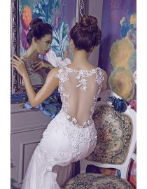 Stunning bateau neckline sweetheart lace mermaid court train illusion back wedding dresses 2017 HB-618