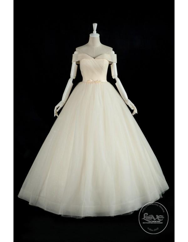 Unique off shoulder bodice tulle simple cream color wedding dresses ...