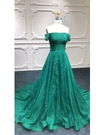 Off shoulder emerald green lace appliques pearls crystals beaded sweeping train evening party prom dresses stock on sale special price now 2018LL322