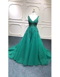 Sexy V neck emerald green lace appliques pearls crystals beaded sweeping train evening party prom dresses stock on sale special price now 2018LL323