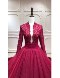 Modest shiny blingbling long sleeves burgundy red navy blue ball gown prom engagement dress lace appliques crystals pearls beaded long train