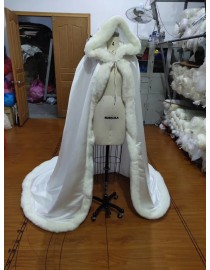 Ivory white faux fur long wedding cloaks-capes-coats wc-008