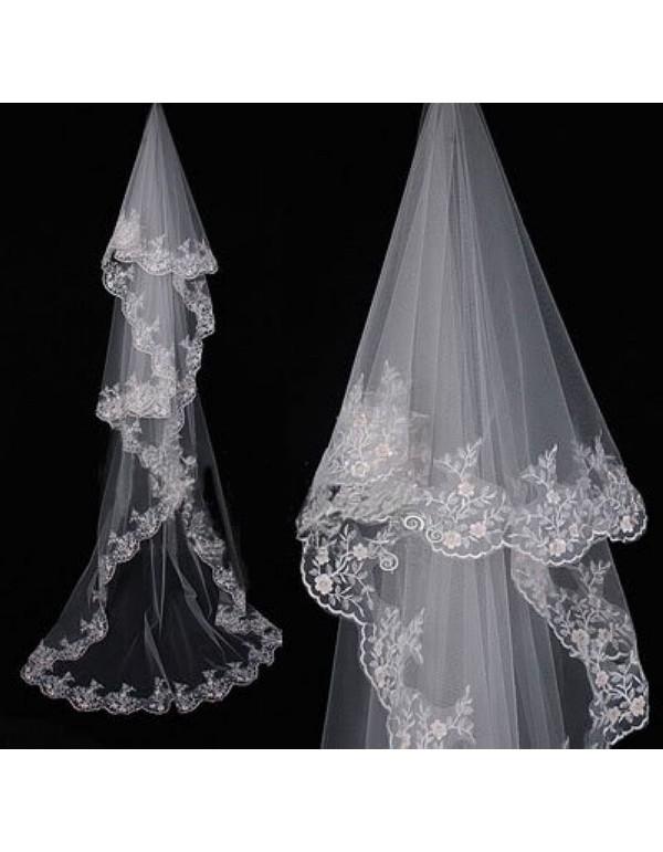 Lacework Appliques Bridal Wedding Chapel Veil WV 003
