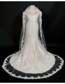 Lacework appliques bridal wedding cathedral veil WV-013
