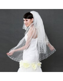 Pearls beaded bridal wedding finger veil WV-031