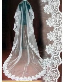 Lacework appliques bridal wedding cathedral veil WV-032