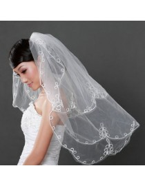 Ribbon embellishment bridal wedding finger veil WV-034
