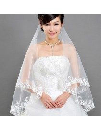 lacework appliques bridal wedding finger veil WV-039
