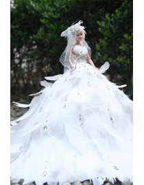 Luxury feather 100% simulation wedding barbie WD-027