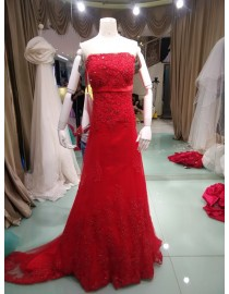 Elegant red strapless mermaid wedding dresses A-line tulle lace sequins beaded dreaming  wd-254