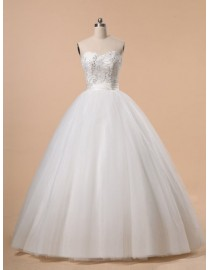A-line sweetheart corset puff ivory white tulle floor length ball bridal dresses embroidery sequins beaded wd-258