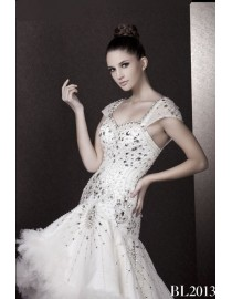 Sweetheart a-line gorgeous luxurious rhinestones crystal beading satin court train layered wedding gowns BL-2013