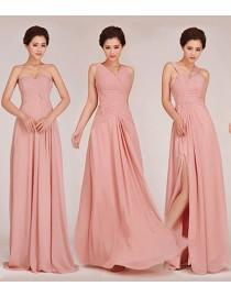 Six different styles with one color chiffon full length bridesmaids dresses BMD-025