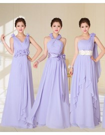 Six different styles with purple color chiffon full length bridesmaids dresses BMD-028