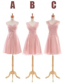 Six different styles with pink color chiffon bridesmaids dresses BMD-026