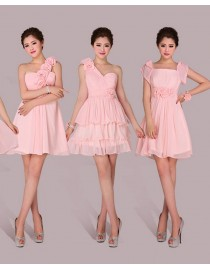Six different styles with pink color chiffon bridesmaids dresses BMD-030