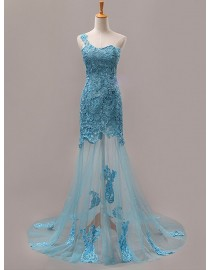 One shoulder embroidery sexy blue sheer wedding evening party lace  prom dresses LS-001
