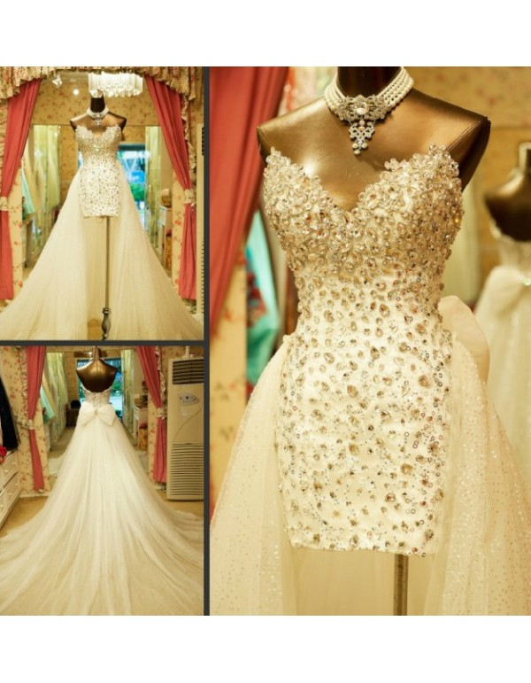 Hi lo sexy luxurious rhinestones beaded sweetheart short for Short wedding dress with removable train