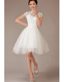 '50s summer cap sleeve high collar ivory white lace and tulle knee length wedding gowns 2014 TB-003