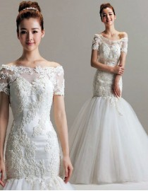 Bateau neckline luxurious pears beaded fit and flare trumpet wedding dresses with sleeves TB-050