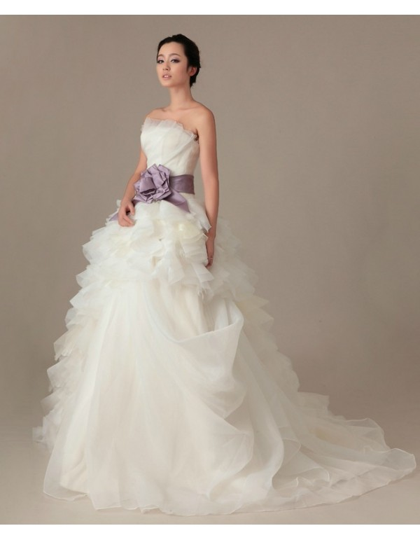 Vera 2017 Strapless Asymmetrical Fl Ball Gown Court Train Wedding Dresses With Purple Satin Sash