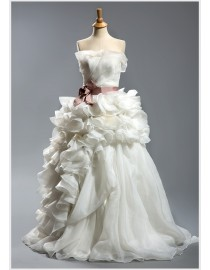Vera wang 2013 strapless asymmetrical floral ball gown court train wedding dresses with purple satin sash TW-018